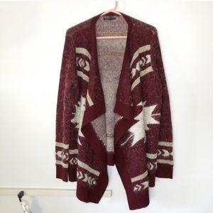 BCBGMaxAzria Knit Patterned Maroon Eyelash Sweater